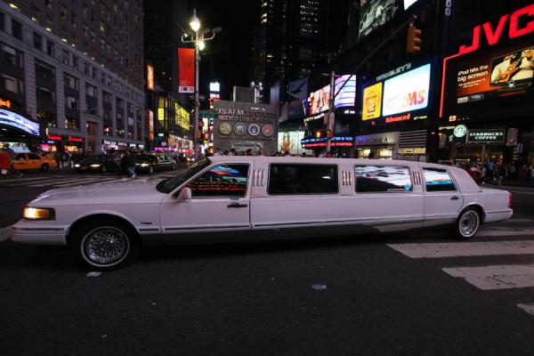 Picture of Times Square (U.S.A.): Stretched white limousine on Times Square