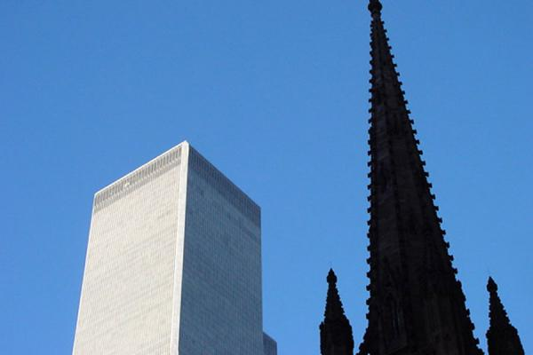 Picture of Manhattan Trinity Church (U.S.A.): Trinity Church and World Trade Center