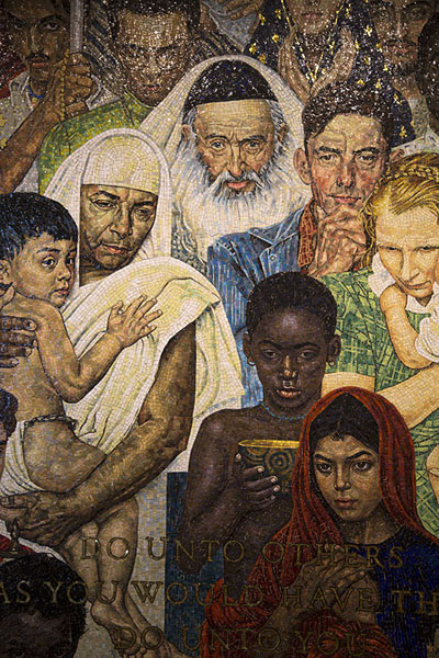 Picture of Detail of The Golden Rule, mosaic created by Norman Rockwell