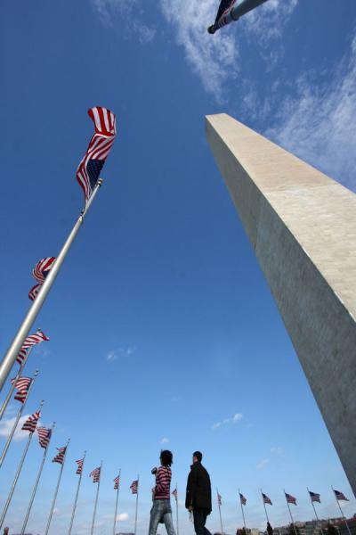 Walking next to Washington Monument and flags | Washington Monument | U.S.A.