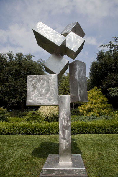 Picture of Cubi XI, by David Smith, is a silvery work of art in the Sculpture GardenWashington, DC - U.S.A.