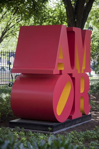 Picture of Amor, a sculpture by Robert Indiana, which also appears as Love, always with the tilted OWashington, DC - U.S.A.
