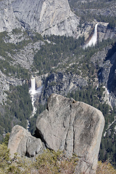 Nevada and Vernal falls seen from Glacier Point | Yosemite waterfalls | United States