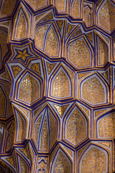 Detail of honeycombed wall of the Guri Amir mausoleum | Mausoleo di Guri Amir | Uzbekistan