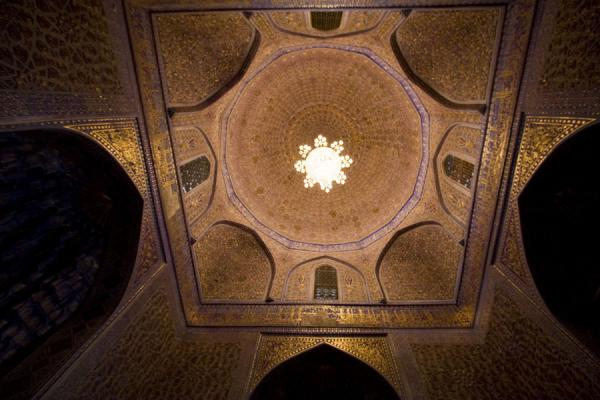 Richly decorated ceiling of the Guri Amir mausoleum | Mausoleo di Guri Amir | Uzbekistan