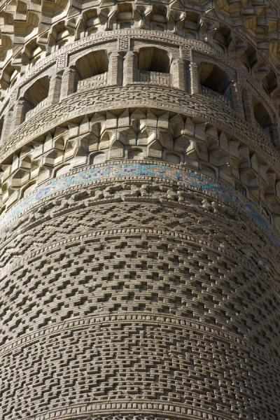 Picture of Kalon Minaret (Uzbekistan): Finely decorated top of the Kalon minaret