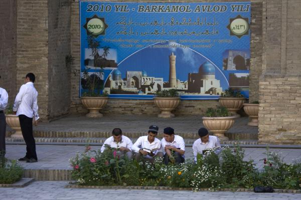 Picture of Students in the courtyard of Mir-i-Arab medressaBukhara - Uzbekistan