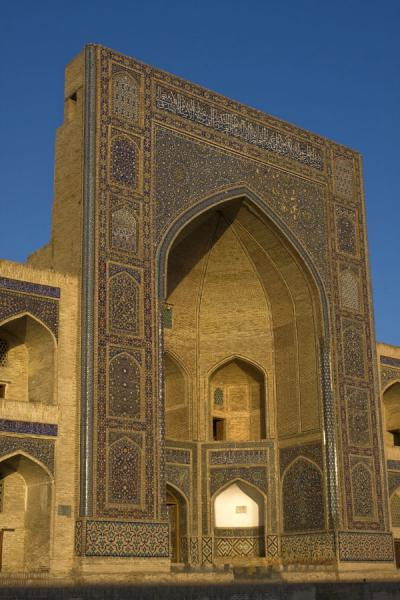 Picture of The main portal of the Mir-i-Arab medressa just before sunsetBukhara - Uzbekistan