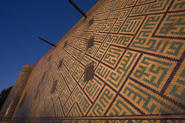 Picture of Back wall of the Sher Dor medressa at sunriseSamarkand - Uzbekistan