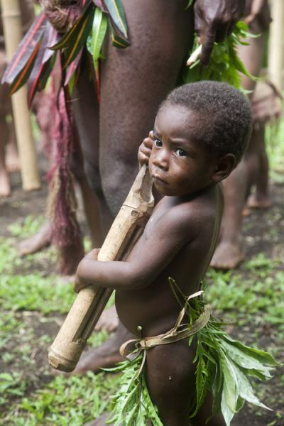 Small Big Namba kid with a tam-tam | Mae Big Namba's | Vanuatu