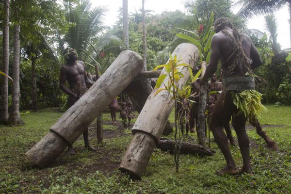 Big Namba men playing the tam-tam | Mae Big Namba's | Vanuatu