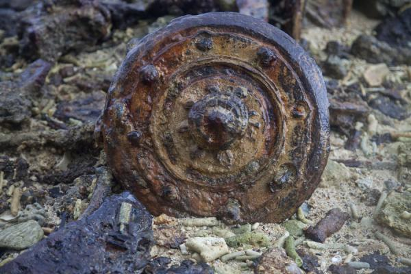 Close-up of one of the many parts of military equipment slowly rusting away at Million Dollar Point | Million Dollar Point | Vanuatu