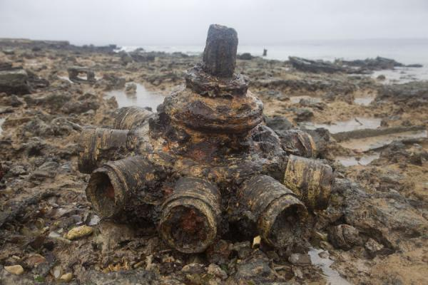 Picture of Million Dollar Point (Vanuatu): Large military object exposed by the low tide at Million Dollar Point