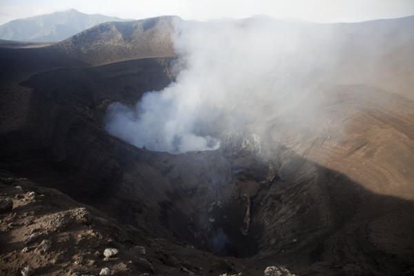 View of the two craters of Mount Yasur from the far side of the crater rim | Mount Yasur | Vanuatu