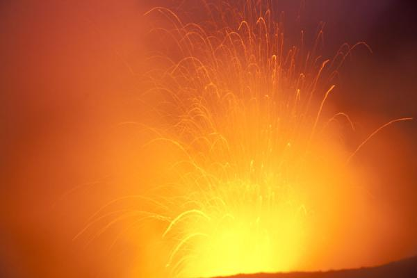 Picture of Mount Yasur (Vanuatu): Powerful explosion of fire in the volcano of Mount Yasur