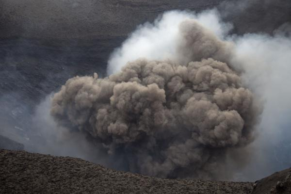 Grey cloud rising from the very active crater of Mount Yasur | Mount Yasur | Vanuatu