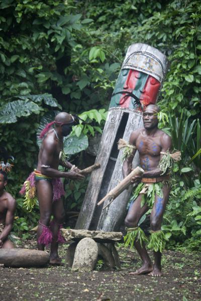 Picture of Nemalits Small Namba's (Vanuatu): Playing the tam-tam for the traditional Small Namba dances