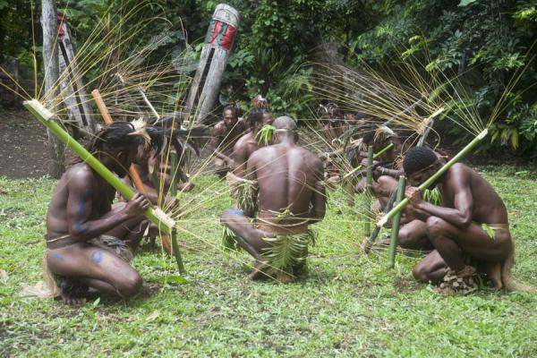 Picture of Nemalits Small Namba's (Vanuatu): Small Namba's kneeling during one of their dances