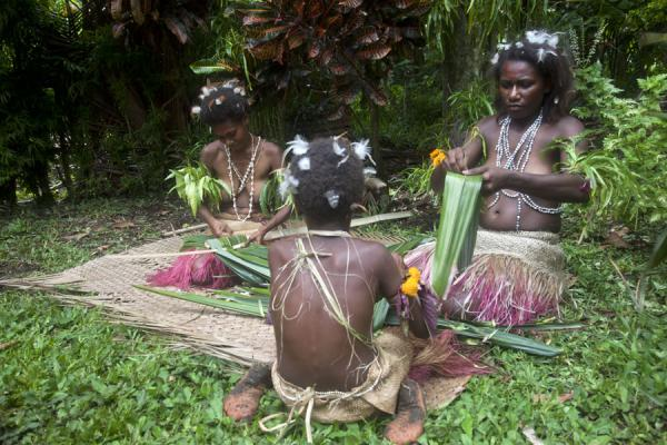 Picture of Nemalits Small Namba's (Vanuatu): Making a roof with sago palm leaves demonstrated by the Small Namba women