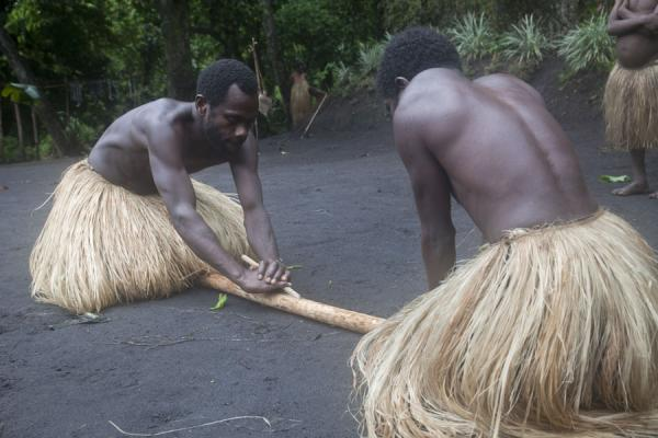 Picture of Tanna traditional village (Vanuatu): Making fire using wood