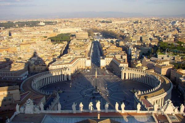 Picture of View over Saint Peters Square, Tiber river, and Rome from the top of Saint Peters Basilica