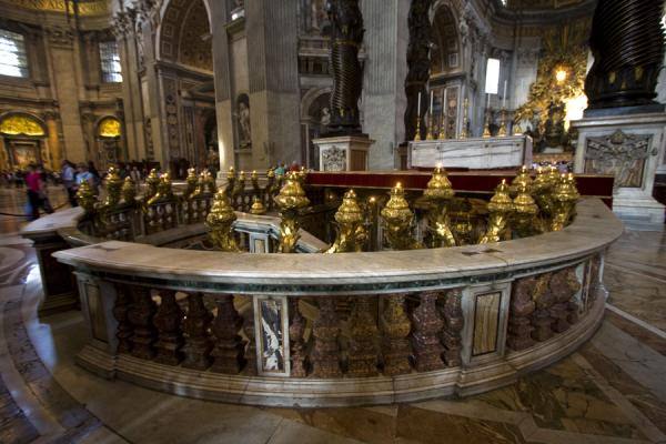 Entrance to the confessio with Saint Peters tomb of Saint Peters basilica | Saint Peters Basilica | Vatican City