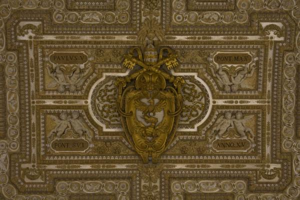 Detail of the ceiling above the entrance to the basilica | Saint Peters Basilica | Vatican City