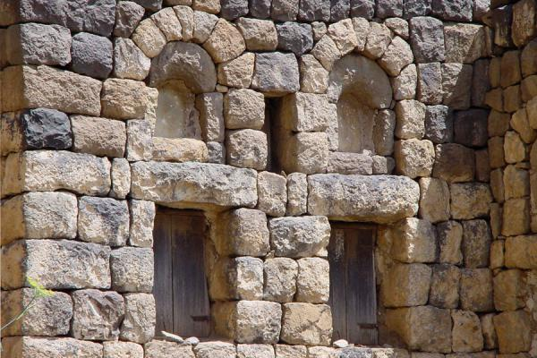 Picture of Haraz Mountains (Yemen): Detail of house in Kahil, Haraz Mountains