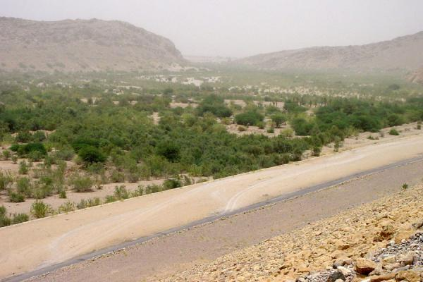 Looking into the fertile valley from the new Marib dam | Marib | Yemen