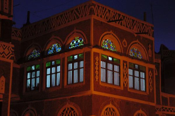Picture of Old San'a (Yemen): Light coming through stained glass windows of Old San'a house