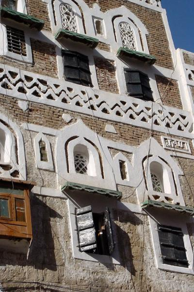 Picture of Old San'a (Yemen): Windows in house in Old San'a