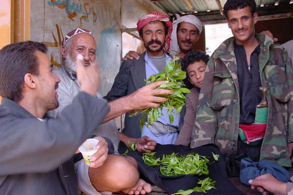 Proudly showing their qat leaves on the qat market | Qat | Yemen