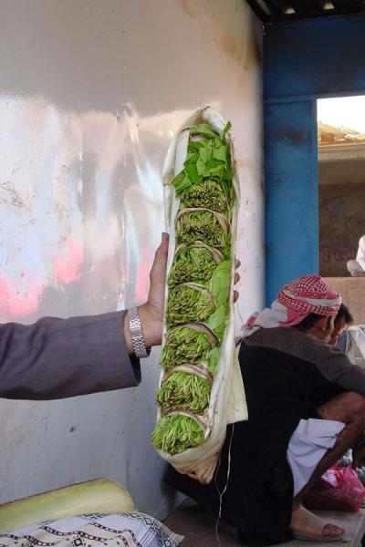 Qat bundled together for sale in the market | Qat | Yemen