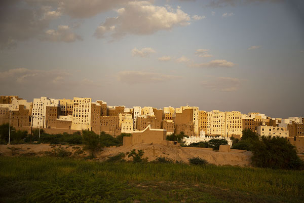 Picture of Shibam (Yemen): Shibam skyline with the walls of the wadi in the background