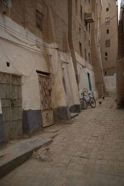 Picture of Shibam (Yemen): Shibam skyscraper with wooden frames in windows