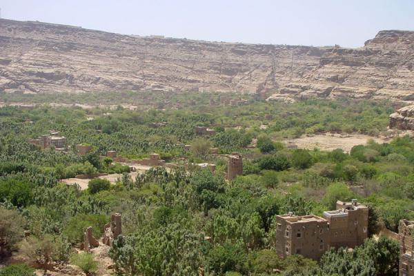Picture of Wadi Dhahr (Yemen): Overview of Wadi Dhahr, with houses, watch towers and agriculture