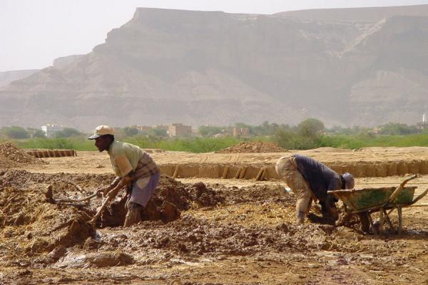 Foto de Men working hard to mix water, earth and strawWadi Hadramawt - Yemen