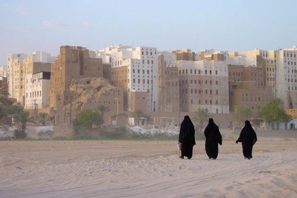Picture of Yemeni People (Yemen): Veiled women near Shibam in Wadi Hadramawt