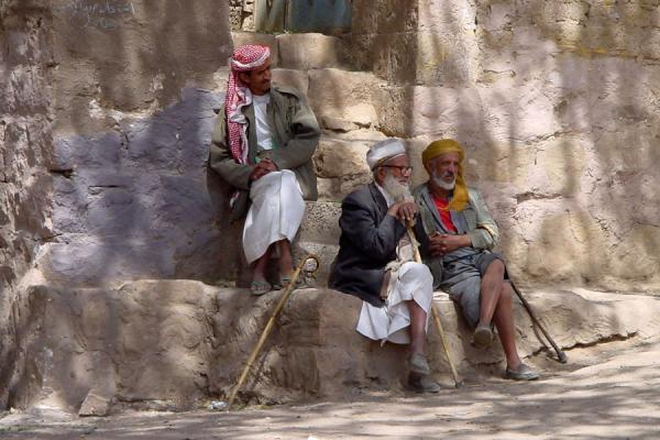 Picture of Yemeni People (Yemen): Yemeni men chatting under a tree in Wadi Dhahr