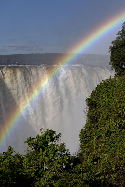 Picture of Bright rainbow in the spray with the main falls in the background - Zimbabwe - Africa