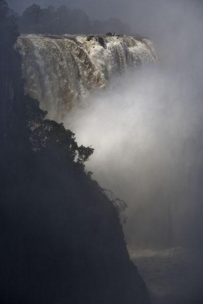 Sunlight shining on the water of Victoria Falls | Victoria Falls | Zimbabwe