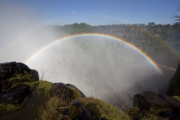 Double rainbow in the spray of Victoria Falls seen from Danger point | Victoria Falls | Zimbabwe