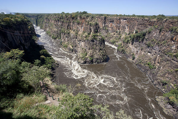 Looking into the Second Gorge; the Victoria Falls are on the left | Victoria Falls | Zimbabwe