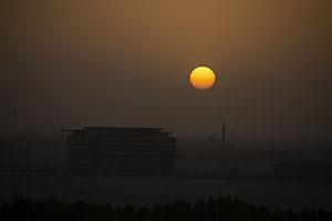 Sunset over Abu Dhabi airport
