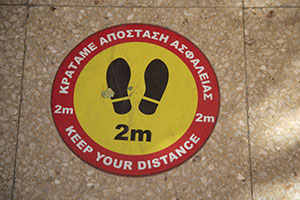 Distancing sign in Cyprus