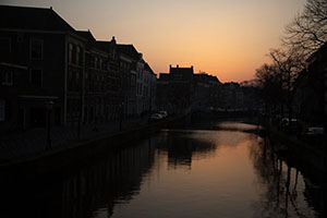 Sunset over a canal in Leiden