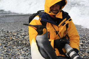 Picture of Boris with a King penguin in Antarctica